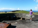 Gloria on top of one of the gun emplacements- never fired.
