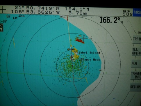 The red is the actual location of the island, as seen by radar