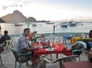 "Dinner on the beach at El Nido. This is a small tourist town with a ""backpacker"" feel. Lots of Filipino tourists as well since this is holy week and a major holiday in the Philippines."