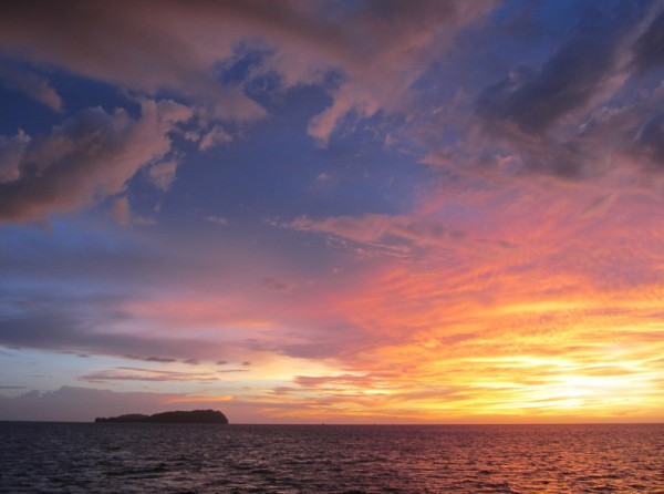 Sunset, anchored as some islands just offshore of Kota Kinabalu, the capital of Sabah.