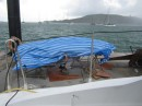 The overturned boat makes a great shelter during the frequent squalls.