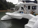 We had davits and a stern railing made while we were building the dighy.