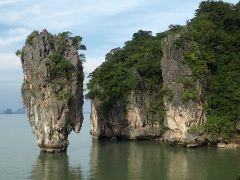 "Our anchorage was about a mile from Ko Ping, aka James Bond Island as ""The Man With the Golden Gun"" was filmed here. We paddled over in the evening when all the tour boats had left and had the place to ourselves."