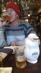 Sampling the local brew. Beagle brewery has a respectable IPA, made all the better as it is served from a penguin carafe. As you drink you feel like you are being baby-birded.