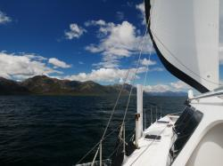 Sailing down the Canal Messier after crossing the Golfo de Penas.