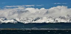 A sporty sail down the Beagle Channel with the mountains of Tierra del Fuego over the city of Ushuaia.