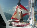Abortive attempt at flying the spinnaker.
