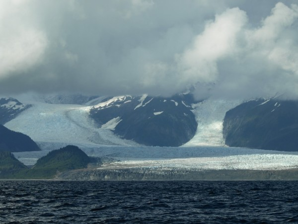 La Perouse Glacier as it comes out the mountains into the ocean.