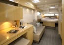 Factory brochure picture of master stateroom looking aft.