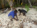 Lionel & Dixon digging up the nest to help the turtles