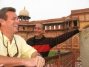 PK, our outstanding tour guide, pointing out the largest mobile stone bathtubs at the Agra Fort