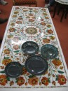 Our marble pietra dura table and bowls...pieces of art.
