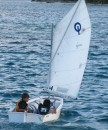Cole and Oscar taking a sail in the Opti