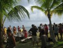 Fun Christmas Day celebration in Holandes Cays with about 40 other boats