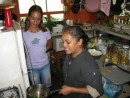 Tess showing her talents in the kitchen in Neiafu.