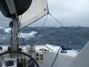Little piece of the jib pushing us along while we cross through a front during our ocean passage to NZ