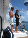 Margie and Drew from s/v Dosia readying for a tube ride