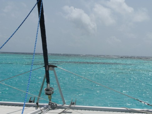 Forward view of reef, all reef, due East, Tobago Cays