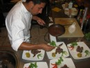 Our sous chef prepares our meat course at Angermeyer Restaurant during our Chef