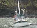 Rebecca and Patrick on s/v Brickhouse, couple from Middletown, RI in Hiva Oa