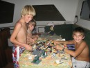 Boys from Chtimagine getting creative w/legos; Daniels Bay, Nuku Hiva