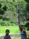 Kids w/waterfall in Tahiti