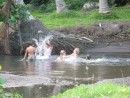 Kids playing in Daniels Bay, Nuku Hiva