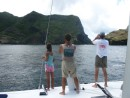 Scoping our our first anchorage after our 17 day passage; Nuku Hiva