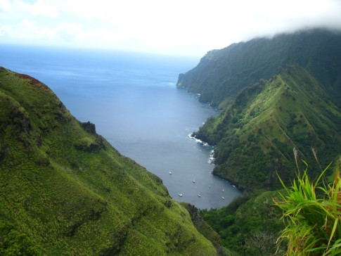 Arial view of Fatu Hiva-Bay of Virgins anchorage