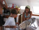 "Cole works on the ""pan"" while visiting Tara Vana for a musical field trip after school last week in Cartagena."