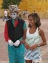 Cammi and a mime in Old Town, Cartagena