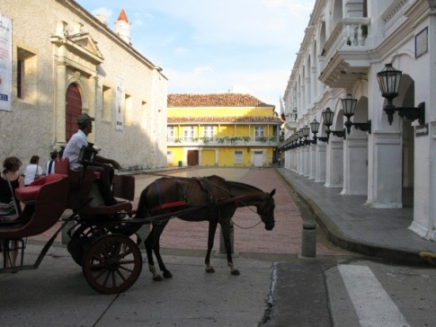 Architecture and old horse carriage in Centro, Cartagena