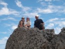 Niko, Cole and Cammi atop a volcanic rock in Tofahi, Tonga