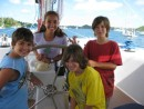 Cammi, Cole, Gabe and Sasha on Zen in Neiafu Harbor, Tonga