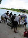 Tom and cruisers help launch a boat for Laura that had been in storage - Niuatoputapu, Tonga