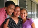 Cammi posing w/her friends who acted as her guides for high school - Niuatoputapu, Tonga