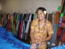 New fabric being cut for our aft deck, Apia, Samoa