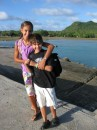 Cammi and Cole waiting for their school bus on Niuatoputapu, Tonga