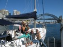 Crew of Carl Linne and Zen enjoying their 40-foot charter boat for a couple days in Sydney Harbor