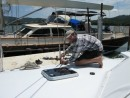 Jerry setting our starboard stays