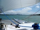 Zen sailing into Auckland with her code zero