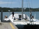 Putting our mast on at Friendship Yachts