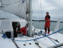 Casper, the hot shot from North Sails NZ, comes onboard Zen for a test sail from Waiheke to Auckland