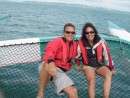 Tom and Monique aboard G3 trimaran in Waiheke Island Regatta