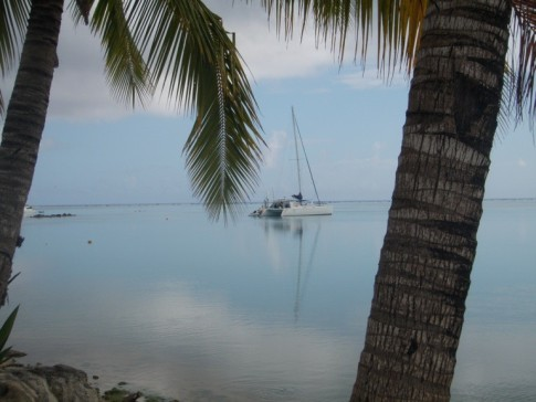 First time ever for a cruising boat to be anchored in this location in Aitutaki, Cook Islands