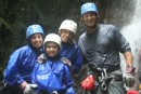 Rappelling down waterfalls in jungles of Costa Rica
