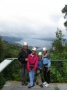 Preparing to zip down w/Lake Arenal, CR in background