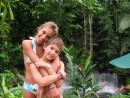 Our kids in the Tabacon natural hot springs in CR