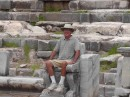Priene theater -a VIP taking his elaborately carved seat.