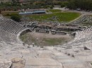 Miletus - from top row of seats looking Looking down at the stage; Hellenistic theater seating 5300 originally on this spot; later rebuilt with a 18000 seat theater.  As the nearby river silted in, the city lost it